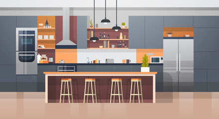 Kitchen Room Interior With Modern Furniture Counter And Appliances Flat Vector Illustration