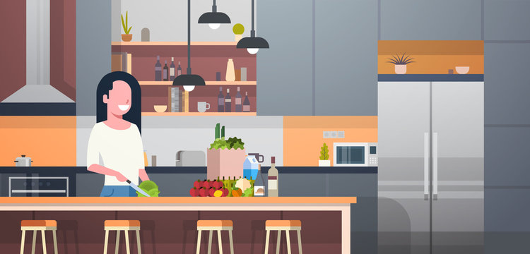 Woman Cooking Salad In Modern Kitchen Room Flat Vector Illustration