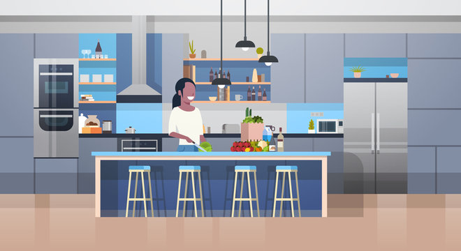 Modern Kithcen Interior And Young African American Woman Cooking Salad Flat Vector Illustration