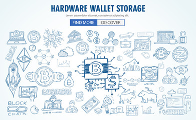Cryptocurrency concept hand drawn doodle designs like: blockchains, software wallet etc