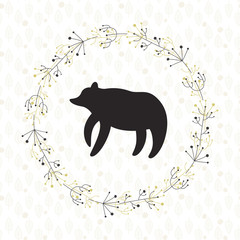 A silhouette of a bear. Vector illustration in Scandinavian style. Cute print, background