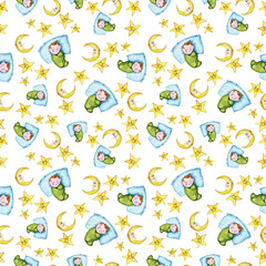 Watercolor seamless pattern on a children's theme and a good night with a little baby, around yellow stars, month smiling, the moon, with soft plush toys, a hare and a bear, for sweet dreams on a whit