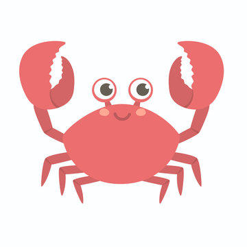 Cute smiling Red Crab vector illustration cartoon character design lifting up claws, isolated on white background.