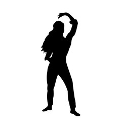isolated silhouette girl dancing oriental dance