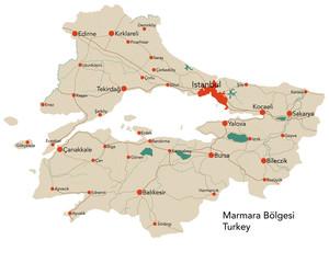Large map of the turkish area of Marmara Bölgesi.