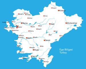 Large map of the turkish area of Ege Bölgesi.
