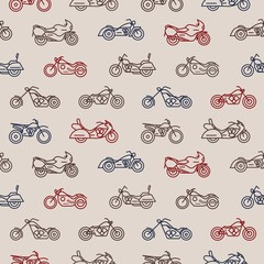 Seamless pattern with motorcycles of different models drawn with colorful contour lines on light background - chopper, bobber, sport and motocross bikes. Vector illustration in creative lineart style.