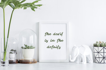 Design white space with mock up poster frame, plants ,leafs and elephant.