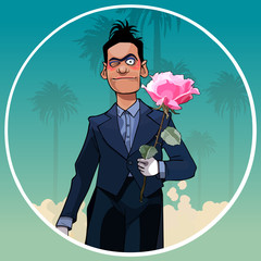 cartoon male clown in black suit with rose in hand