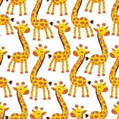 Vector seamless pattern with giraffe