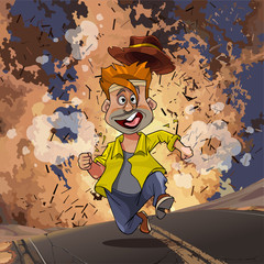 cartoon man running away from an explosion on the highway