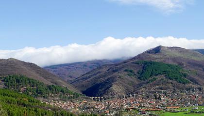 The view to the highest railway bridge in the Balkan peninsula, Bunovo village, Bulgaria.