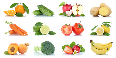 Wall Mural - Fruit many fruits and vegetables collection isolated apple oranges banana tomatoes colors
