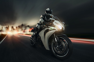 fast motorbike at night