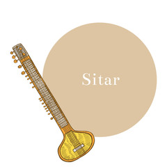 Sitar in Hand-Drawn Style