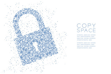 Abstract Geometric polygon square box and Triangle pattern Lock shape, Security privacy concept design blue color illustration isolated on white background with copy space, vector eps 10