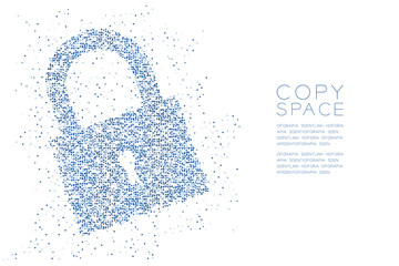 Abstract Geometric Circle dot pattern Lock shape, Security privacy concept design blue color illustration isolated on white background with copy space, vector eps 10