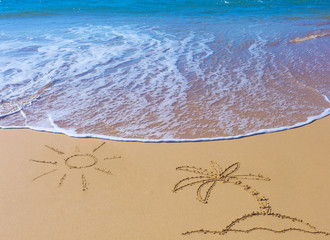 Palm Tree on an island under the sun drawing on wet beach sand and sea wave on background
