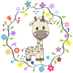 Cute Giraffe in a flowers frame