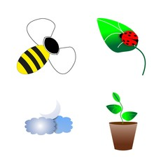 icon Nature with honeybee, cloud, bumblebee, decoration and flowerpot