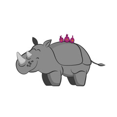 Animals of zoo. Rhinoceros with birds on the back in cartoon style. Isolated cute character. Vector illustration