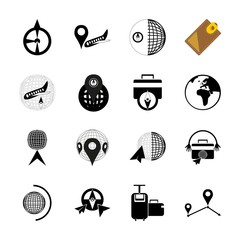 icon Travel with network, modern, accessory, gps and case