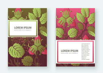 Strawberry pattern design templates product. Hand drawn red berry. Cute trendy dark background blossom greenery bush. Graphic illustration wedding, invitation, poster, card, cover, product vector