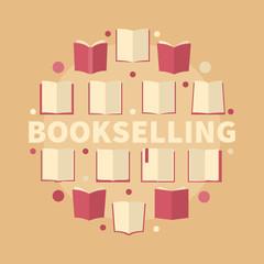 Bookselling circular flat vector illustration - creative sign