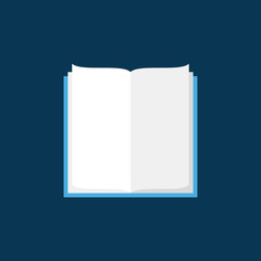 Open book vector flat icon on blue background
