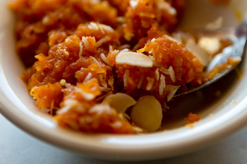 Indian carrot dessert with almonds and coconut