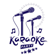 Karaoke party promotion poster design composed using musical notes and 5 pentagonal stars. Rap battle concept, two stage microphones vector illustration.