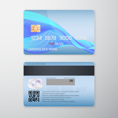 Realistic detailed credit card with blue background. Vector illustration design