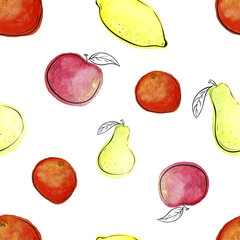 Vector Fruit seamless pattern mixture of orange, pear, apple, lemon fruits. Watercolor.