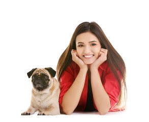 Woman with cute dog on white background. Friendship between pet and owner
