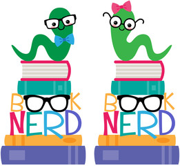 Vector Book Worm Book Nerd Graphic Set