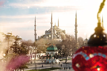 Amazing view on Blue mosque in glorius sunset, Istanbul, Sultanahmet park