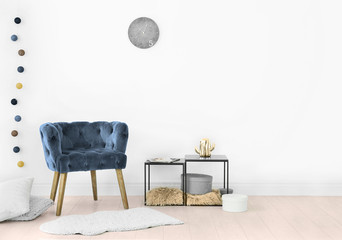 Elegant room interior with comfortable armchair. House design