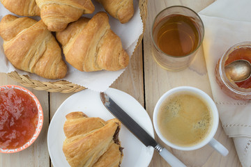 Breakfast with fresh baked croissants.