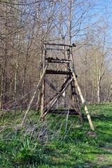 Wooden high stand for hunters, on a field near Leipzig, for shooting wild