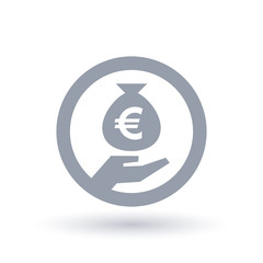 Euro money bag in hand symbol - European currency banking icon