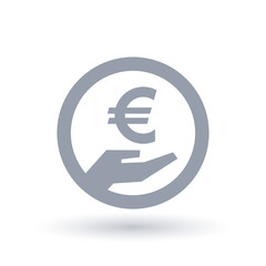 Euro hand symbol - European currency pay icon