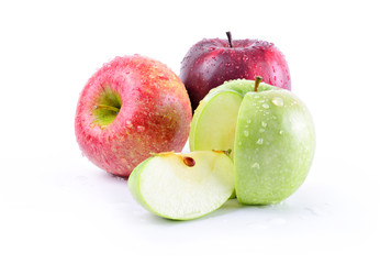 Three apples: stark delicious, granny smith and royal gala