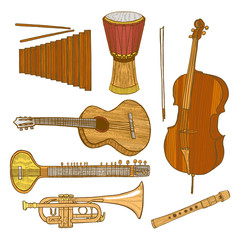 Set of Musical Instruments in Hand-Drawn Style