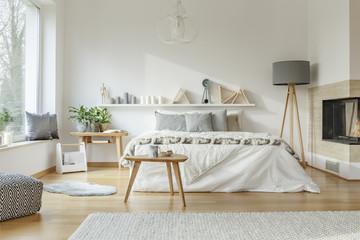 Cozy, spacious bedroom interior