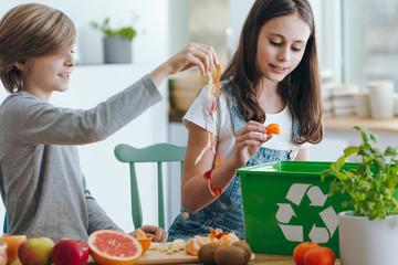 Girl throwing fruits waste