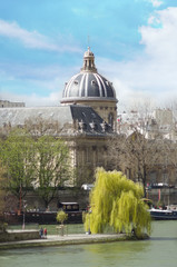 View over the Seine of the institute of france with blue sky.