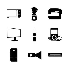 icon Electronic with juice, camera, lens, monitor and air