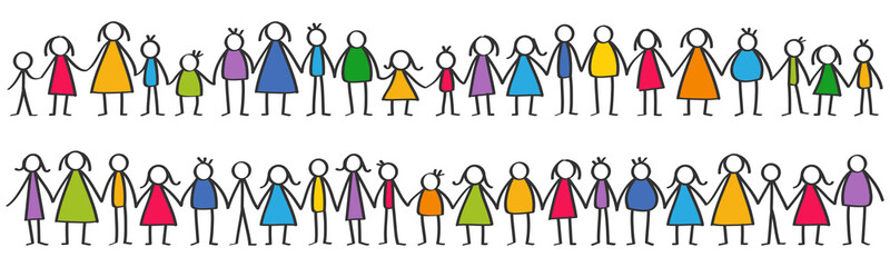 Vector illustration of colorful male and female stick figures, children standing in rows holding hands isolated on white background