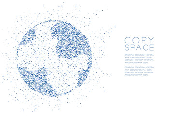 Abstract Geometric polygon square box and Triangle pattern Globe shape, World business technology concept design blue color illustration isolated on white background with copy space, vector eps 10