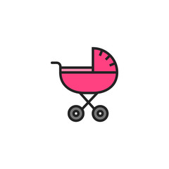 Baby Buggy Flat Icon Vector